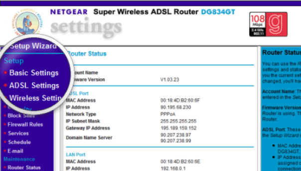 Netgear router settings