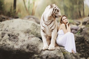 girl with a tiger
