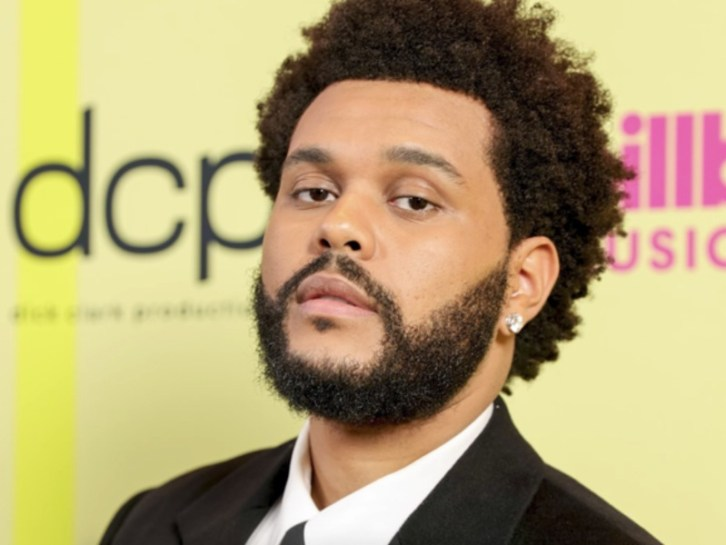 The Weeknd with earring and beard