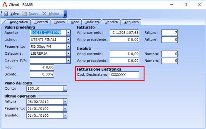 codice destinatario da usare per fattura elettronica cliente estero