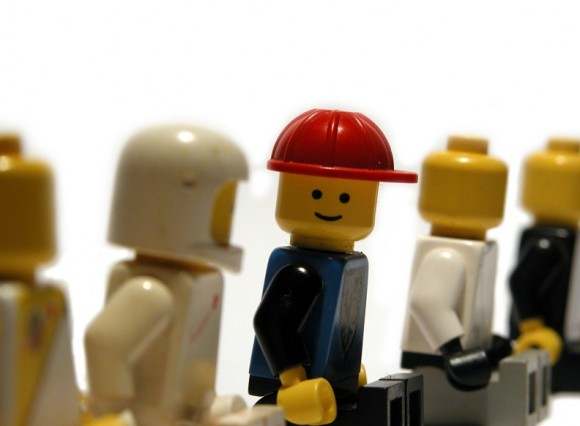 A line of lego men