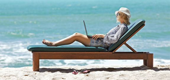 remote worker beach