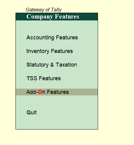 company features in tally
