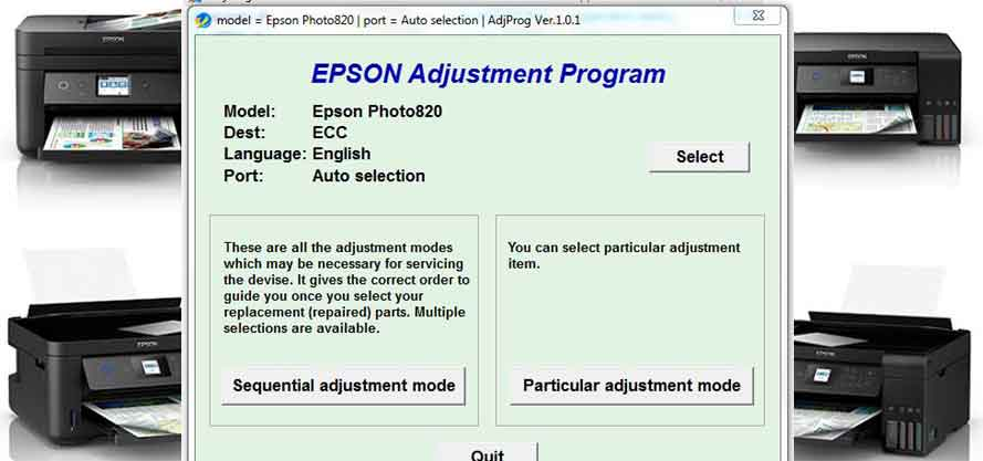 Epson Stylus Photo 820 Adjustment Program