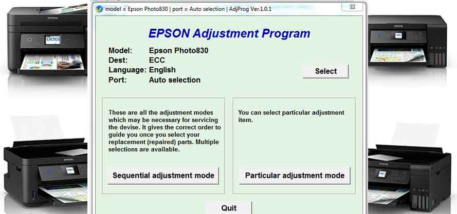 Epson Stylus Photo 830 Adjustment Program