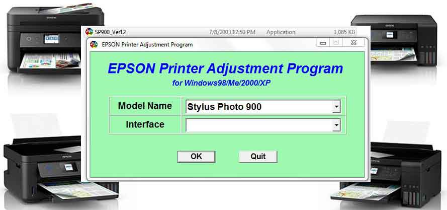 Epson Stylus Photo 900 Adjustment Program