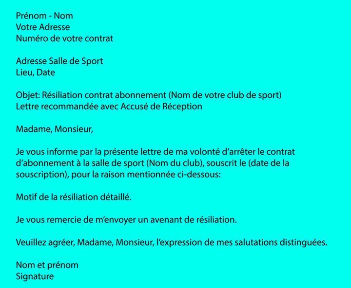 lettre de resiliation pour une salle de sport