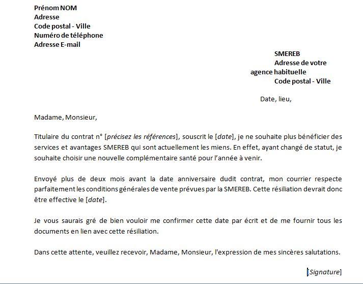 lettre de resiliation mutuelle etudiante
