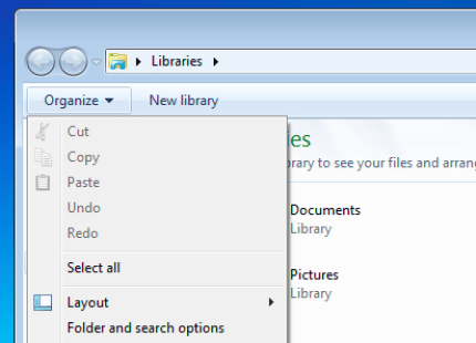 Folder search options Win vista or 7