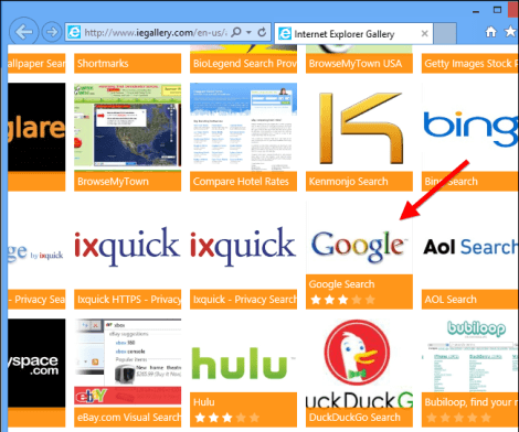 IE Find More Search Providers