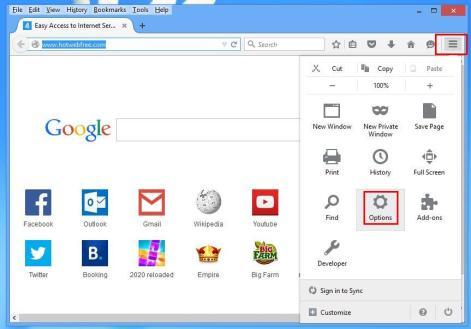 Mozilla Menu Options