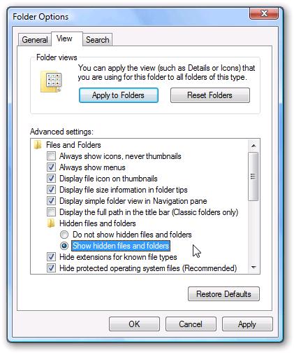 montrer les fichiers cachés