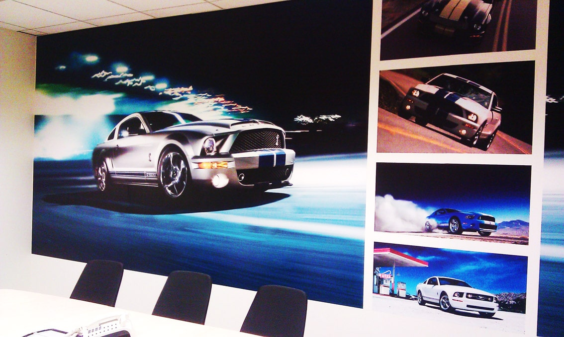 production of self-adhesive photo wallpapers in any size