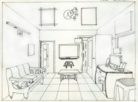 Living Room Sketch One Point Perspective