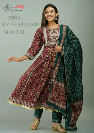 LILLY STYLE OF INDIA SONAL  KURTI BOTTOM WITH DUPATTA