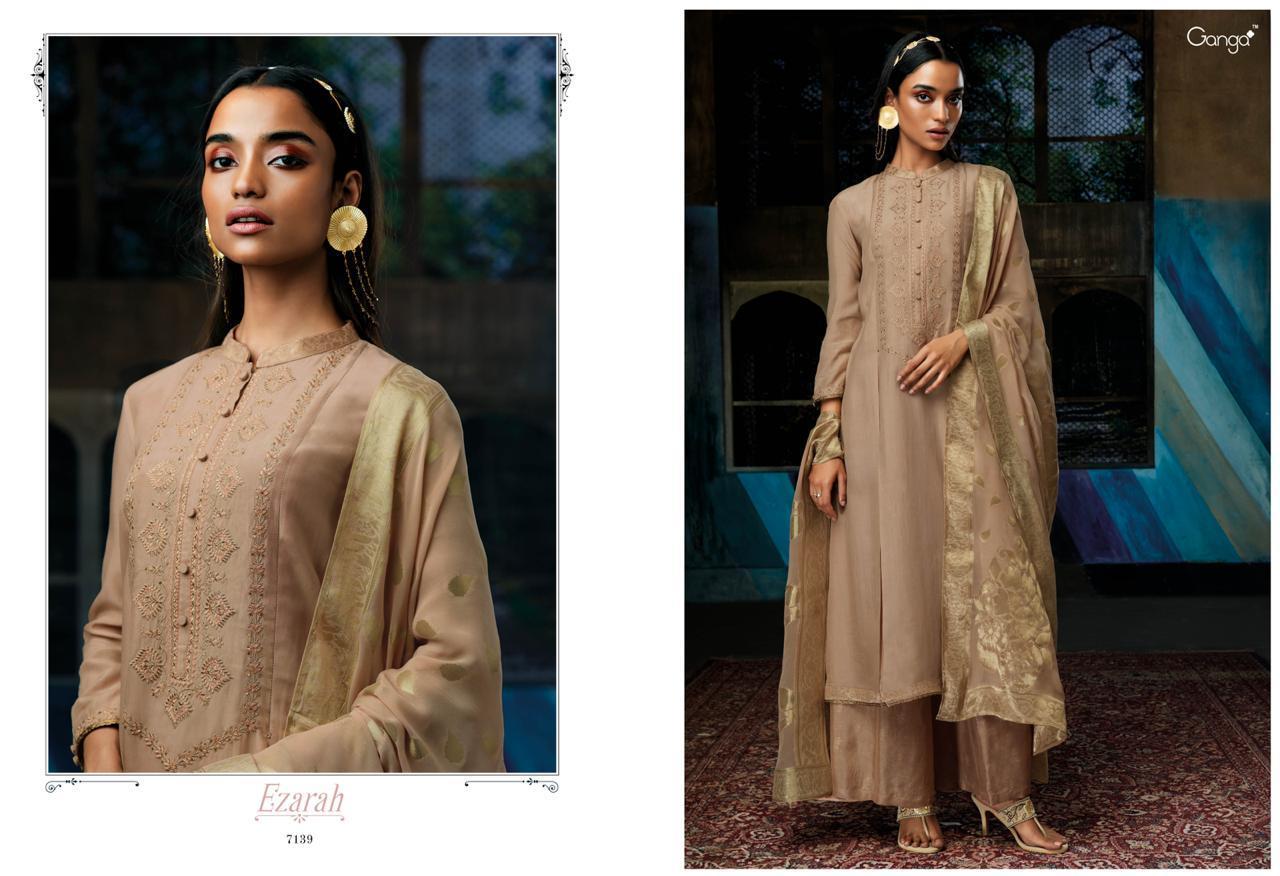 1faa4ca451 Ganga presents ezarah pure silk and heavy Embroidery and hand work Palazzo  salwar suit Wholesaler