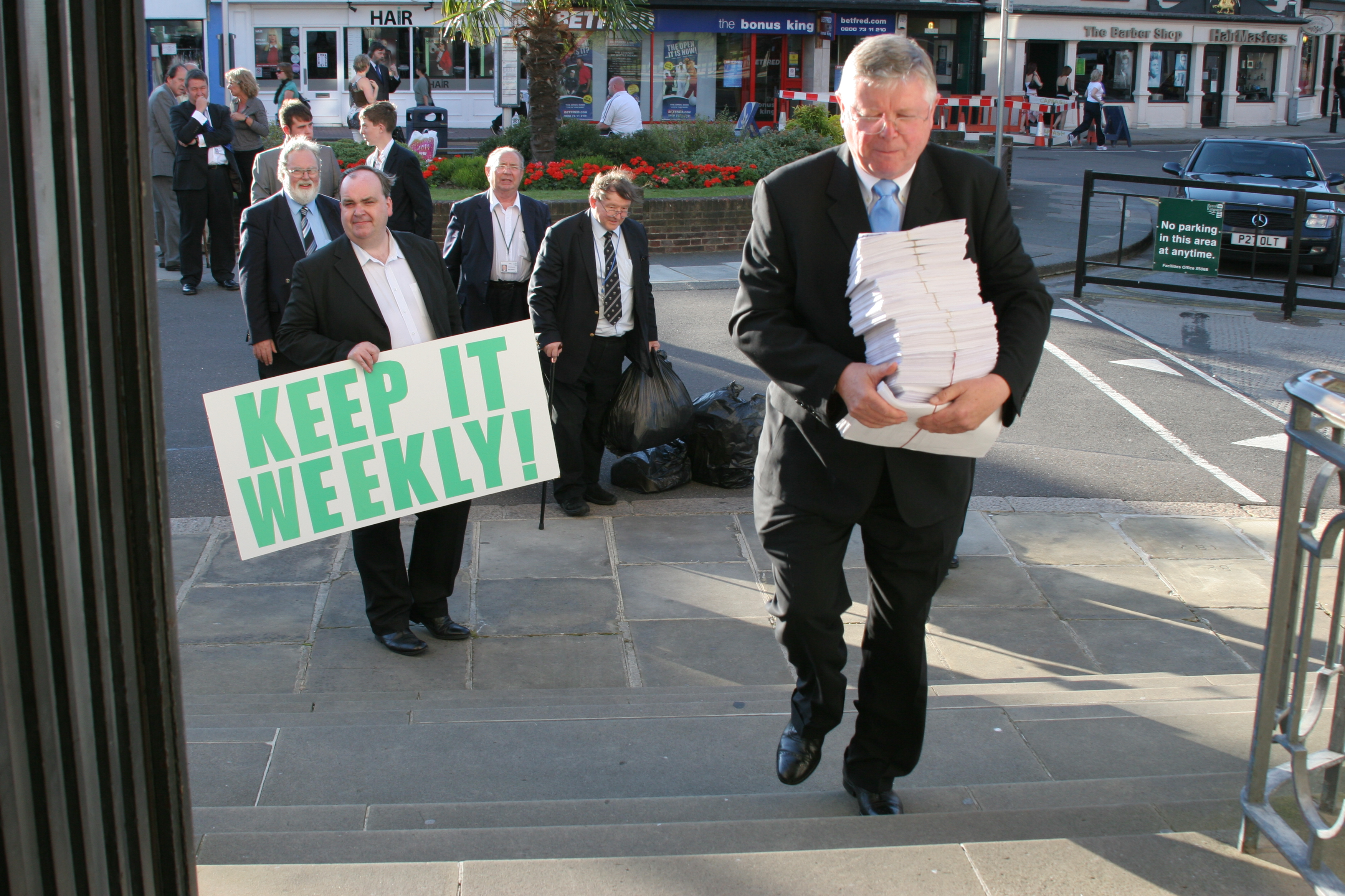 Leader Cllr. Howard Jones with 5500 signature petition