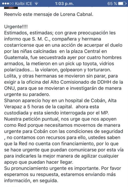 Llaman a solidaridad con guatemalteca
