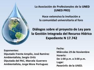 Foro UNED Dialogos sobre el Proyecto de Ley para la Gestion Integrada del Recurso Hidrico