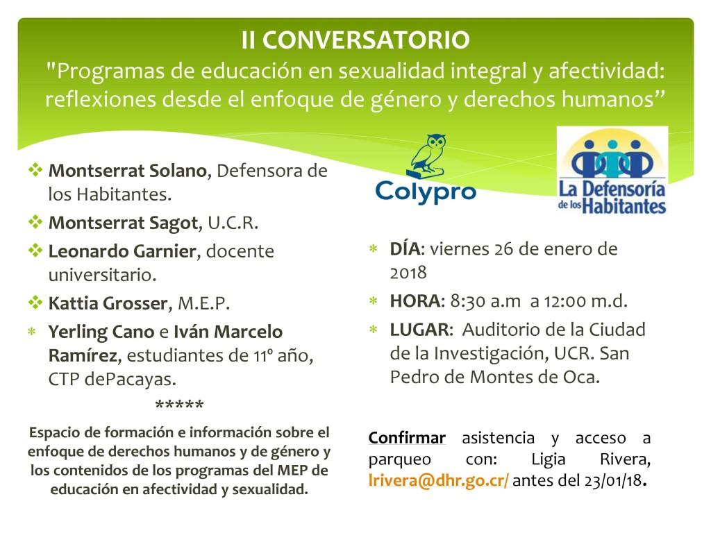 Colypro organiza conversatorio sobre programa de Educacion en Sexualidad Integral y Afectividad