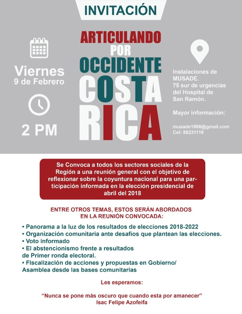 Invitacion Articulando Occidente por Costa Rica