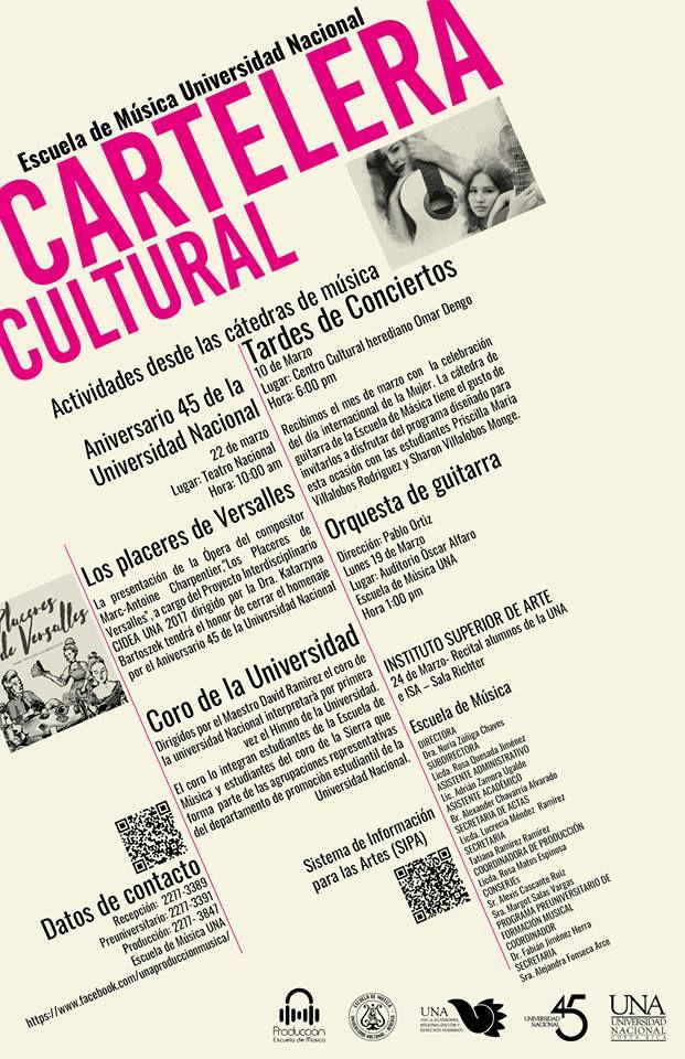 Cartelera Cultural Escuela de Musica de la UNA