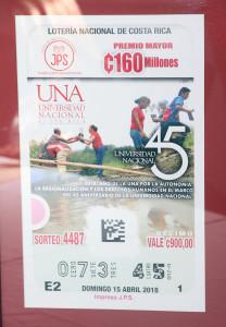 Billete de Loteria alusivo al 45 Aniversario de la UNA10