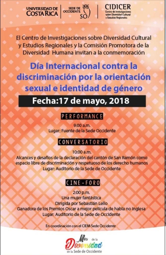 Dia Internacional con la discriminacion por la orientacion sexual e identidad de genero