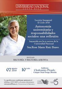 Leccion Inaugural UNA Autonomia universitaria y responsabilidades sociales