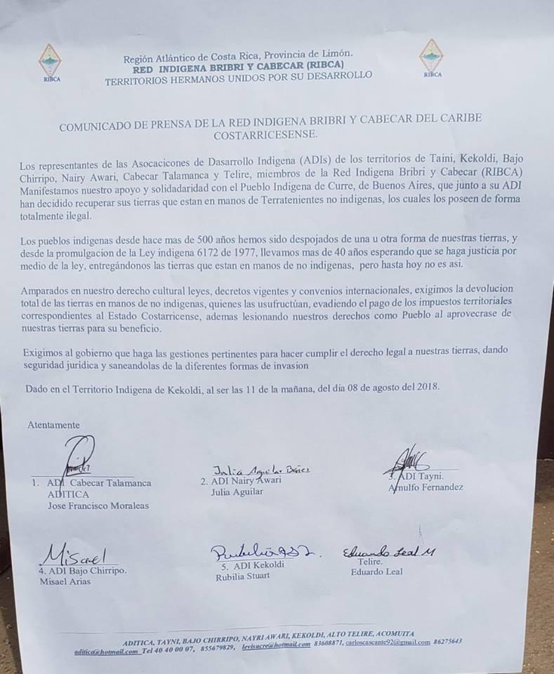 Red indigena bribri cabecar de Talamanca manifiesta su apoyo a sus homologos de Rey Curre