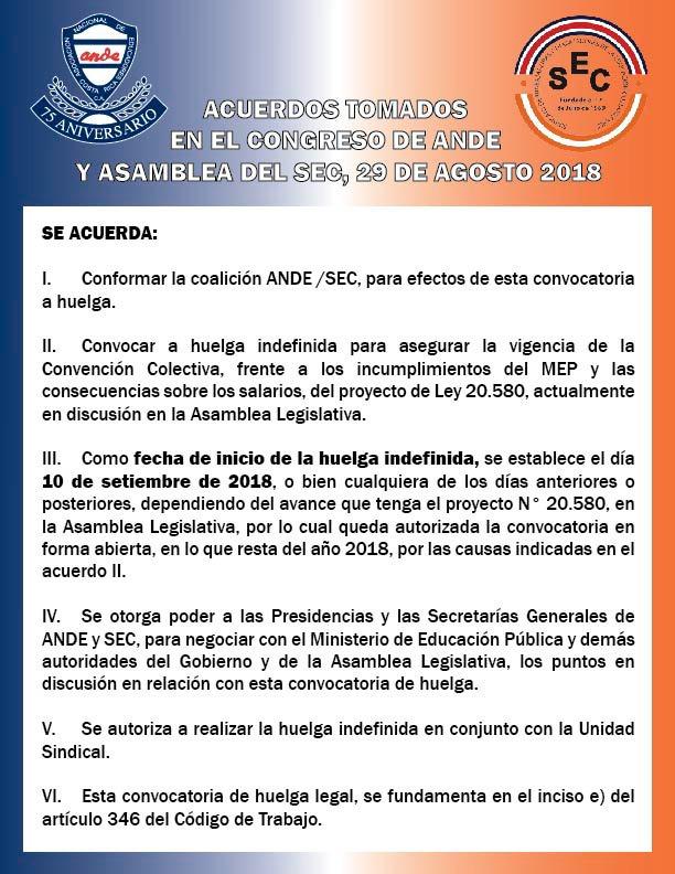 Acuerdos tomados en el Congreso de ANDE y Asamblea del SEC