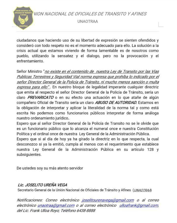 Pronunciamiento de la Union Nacional de Oficiales de Transito y Afines2