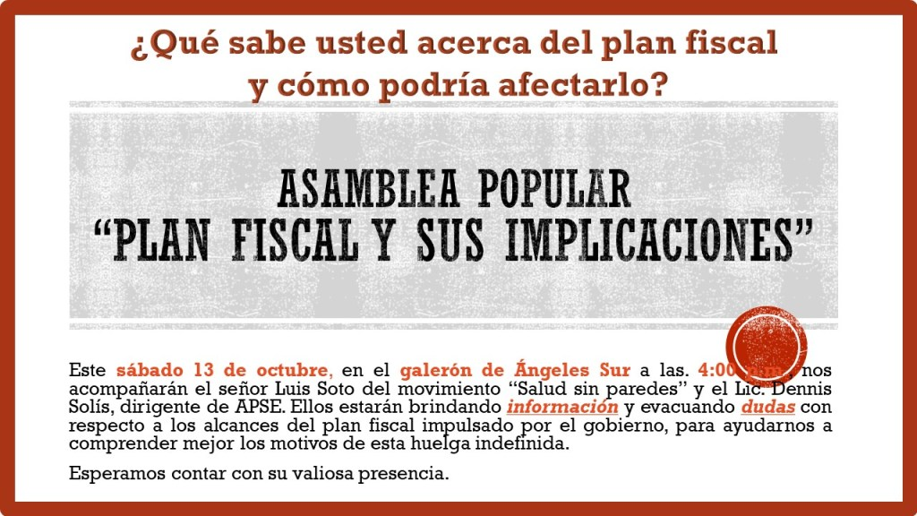 Asamblea Popular Plan Fiscal y sus implicaciones