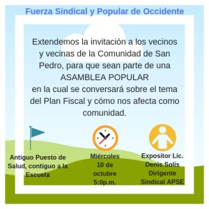 Asamblea popular en San Pedro sobre Plan Fiscal