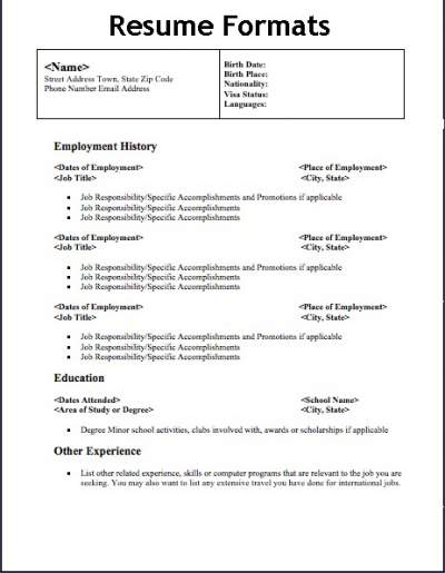 different types of resume format