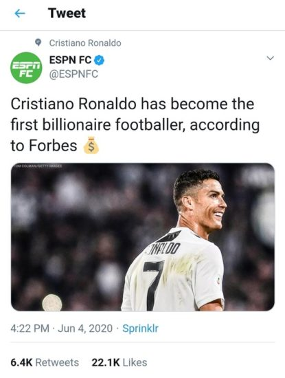Cristiano Ronaldo Officially Come To Be Football's 1st Billionaire – Forbes