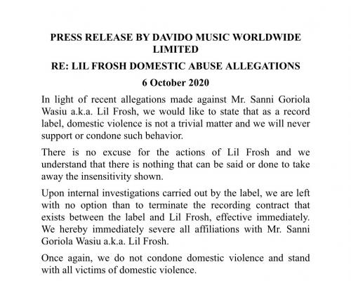 Davido Terminates Record Deal With Lil Frosh, Kicked Him Out Of DMW