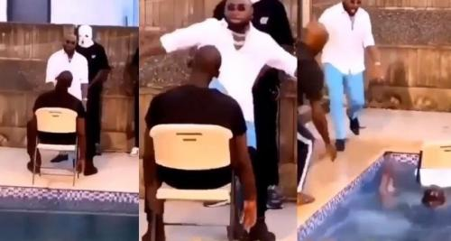 Davido Was Shocked As The Man he Kicked Nearly Drown (Video)