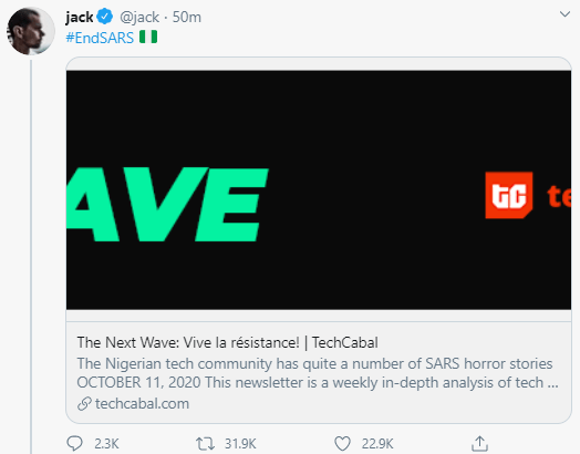 Twitter CEO, Jack Dorsey Tweets His Support For #EndSARS Protest