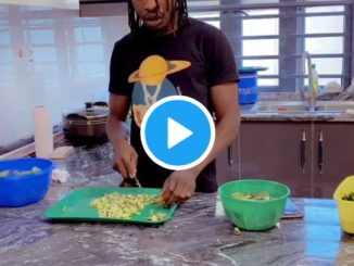 Men belong in the kitchen - Music star, Naira Marley shows off his cooking skills