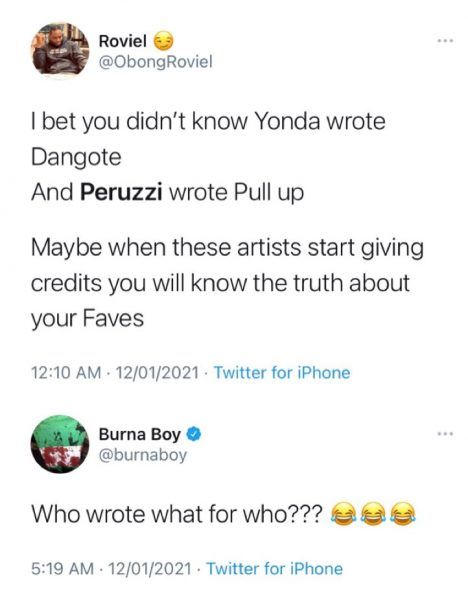 """Burna Boy Dragged For Lacking To Give Songwriting Credit To Peruzzi & Yonda On """"African Giant"""""""