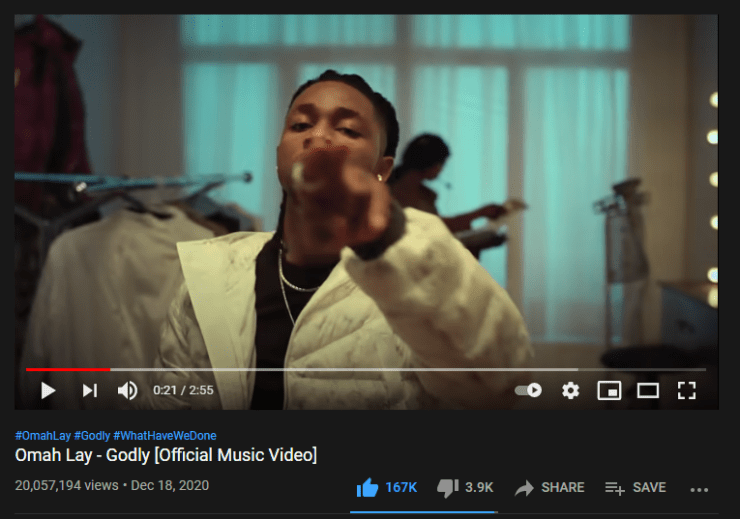 "Omah Lay's ""Godly"" Hits 20 Million Views on Youtube"