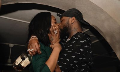 Davido shares photo of himself passionately kissing Chioma