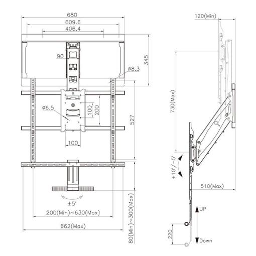 """42""""-65"""" Above Fireplace Pull-down Full-motion TV Wall Mount (SMF600) 1"""