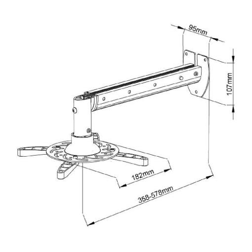 White Wall Hung Projector Mount Extra Long (SPWM05W) 2