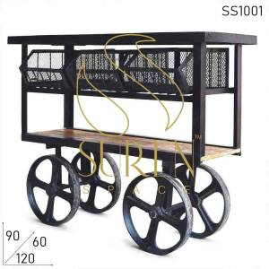 SS1001 Suren Space Industrial Style Cart Trolley with Cast Iron Wheels For Commercial Places