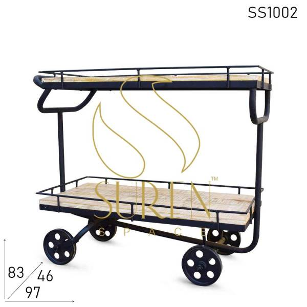 SS1002 Suren Space MS Iron Solid Wood F&B Cart Trolley for Serving