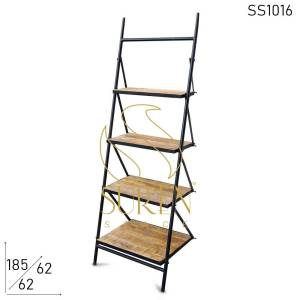 SS1016 Suren Space Foldable Metal Solid Wood Display Unit cum Bookcase