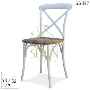 SS1127 Suren Space Metal Reclaimed Wood Industrial Banquet Event Chair