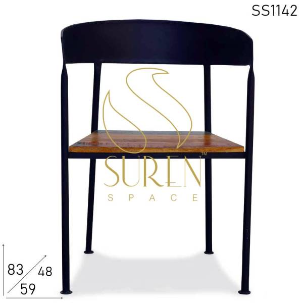 SS1142 Suren Space Metallic Reclaimed Seat Industrial Restaurant Semi Outdoor Chair